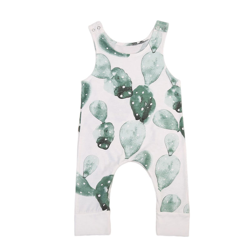 7899fc82a Cute Newborn Toddler Kids Boy Girl Sleeveless Cactus Print Cotton Romper  Jumpsuit Outfits One Pieces Children