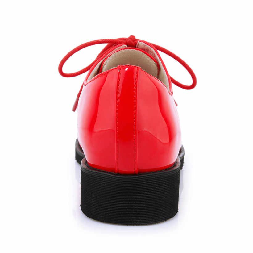 2019 Lente Herfst Britse Vrouwen Derbies Rood Lakleer Ronde Neus Dame Flats Lace-up Casual Office Dress Brogues retro Schoenen