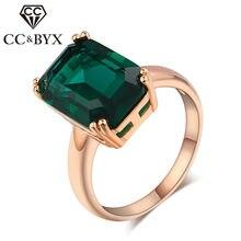 Anéis cc para mulheres, anel de casamento vintage, joia rosa, cor dourada, verde, pedra, envio direto cc1241
