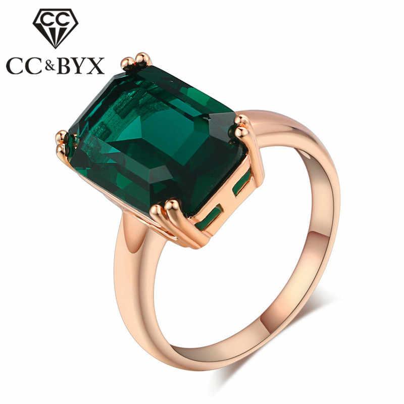 Cc anéis para senhoras do vintage anel de casamento nupcial jóias rosa de ouro-cor verde pedra transporte da gota anillos bijoux cc1241