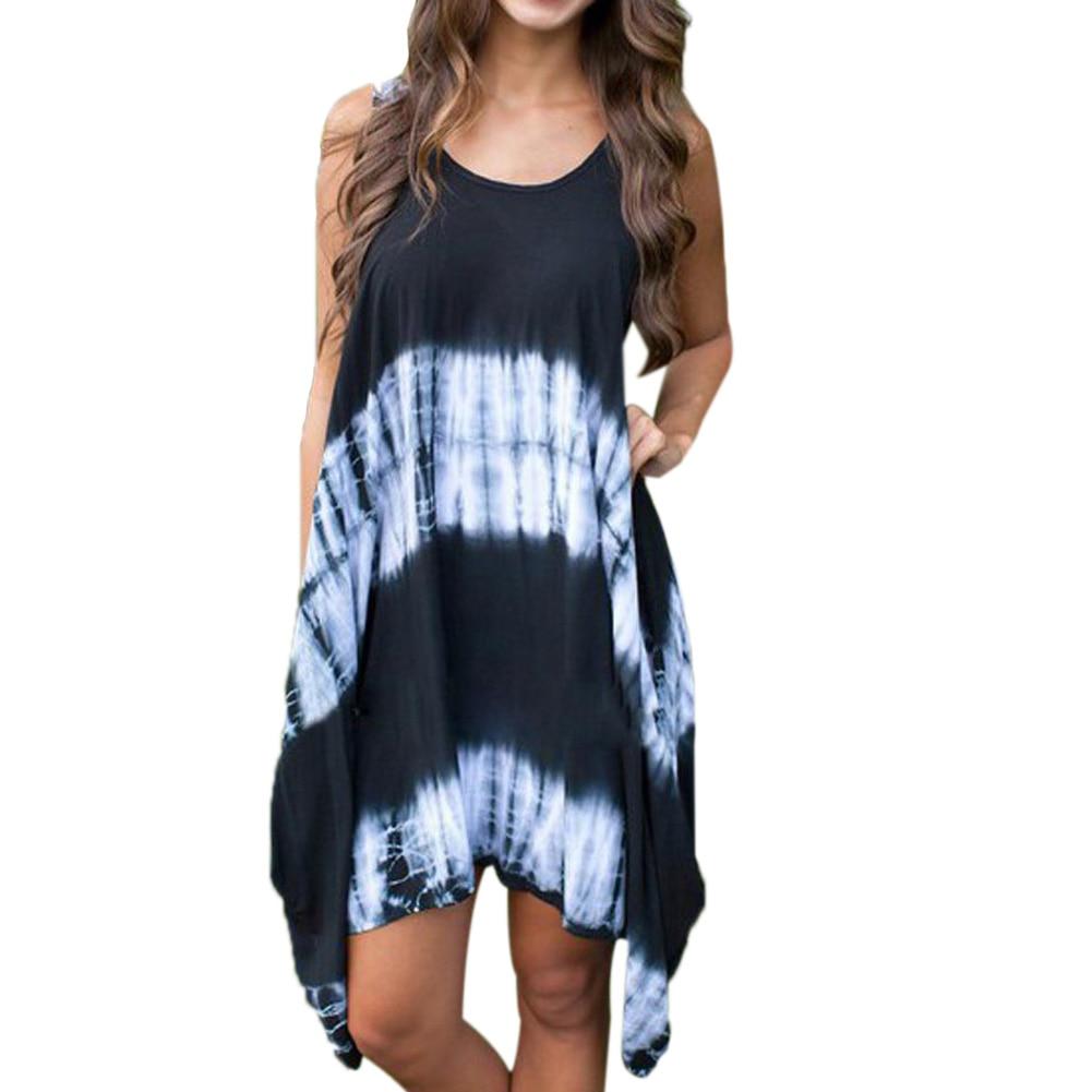 Neue frauen sommer print sexy ärmellose kleider gefärbt unregelmäßigen tails trägerkleid strand freizeitkleidungchina