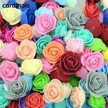 50 adet/grup yapay Mini PE köpük gül çiçek kafa el yapımı DIY düğün ev dekorasyon DIY Scrapbooking sahte çiçek öpücük topu