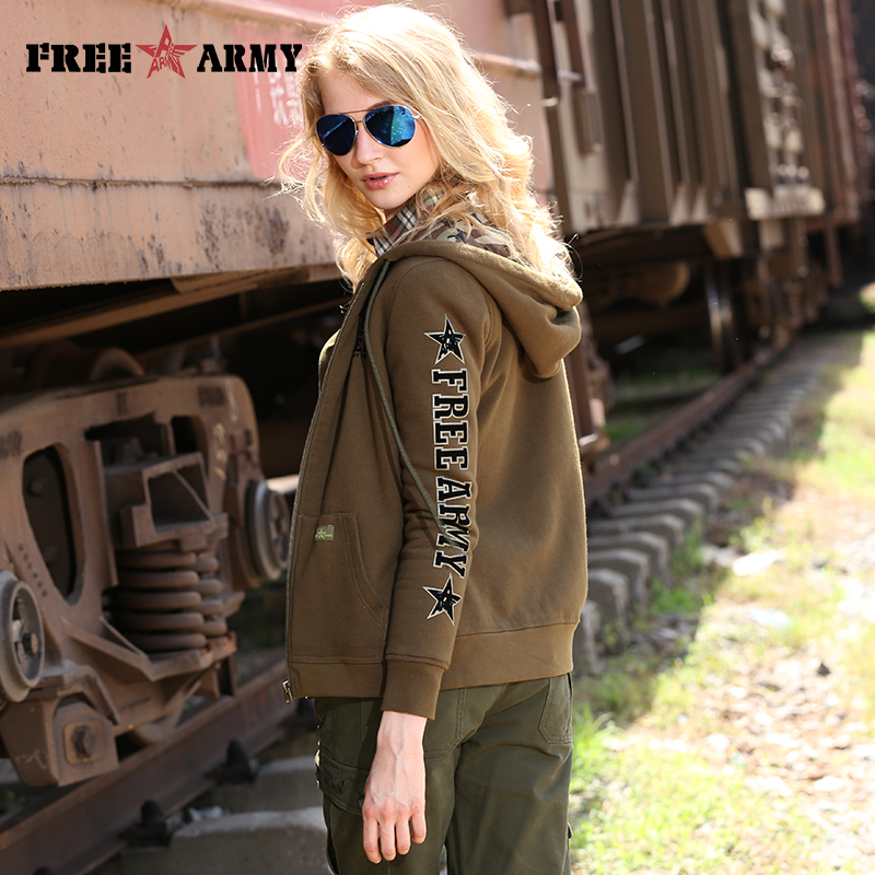 Hot Sales Army Style Women Shirt Regular Length Hooded Printing Solid Green And Camouflage Spring Autumn