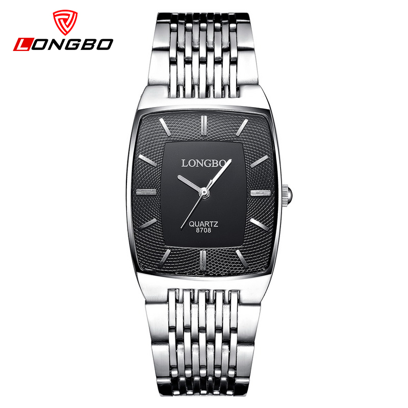 LONGBO Brand Square Dial Lovers Quartz Watch Casual Steel Strap Watches Men Women Couple Wristwatch Fashion Reloje Saat Erkekle cagarny fashion watch women rose gold men s quartz watches men casual wristwatches for lovers unisex nylon strap reloje mujer