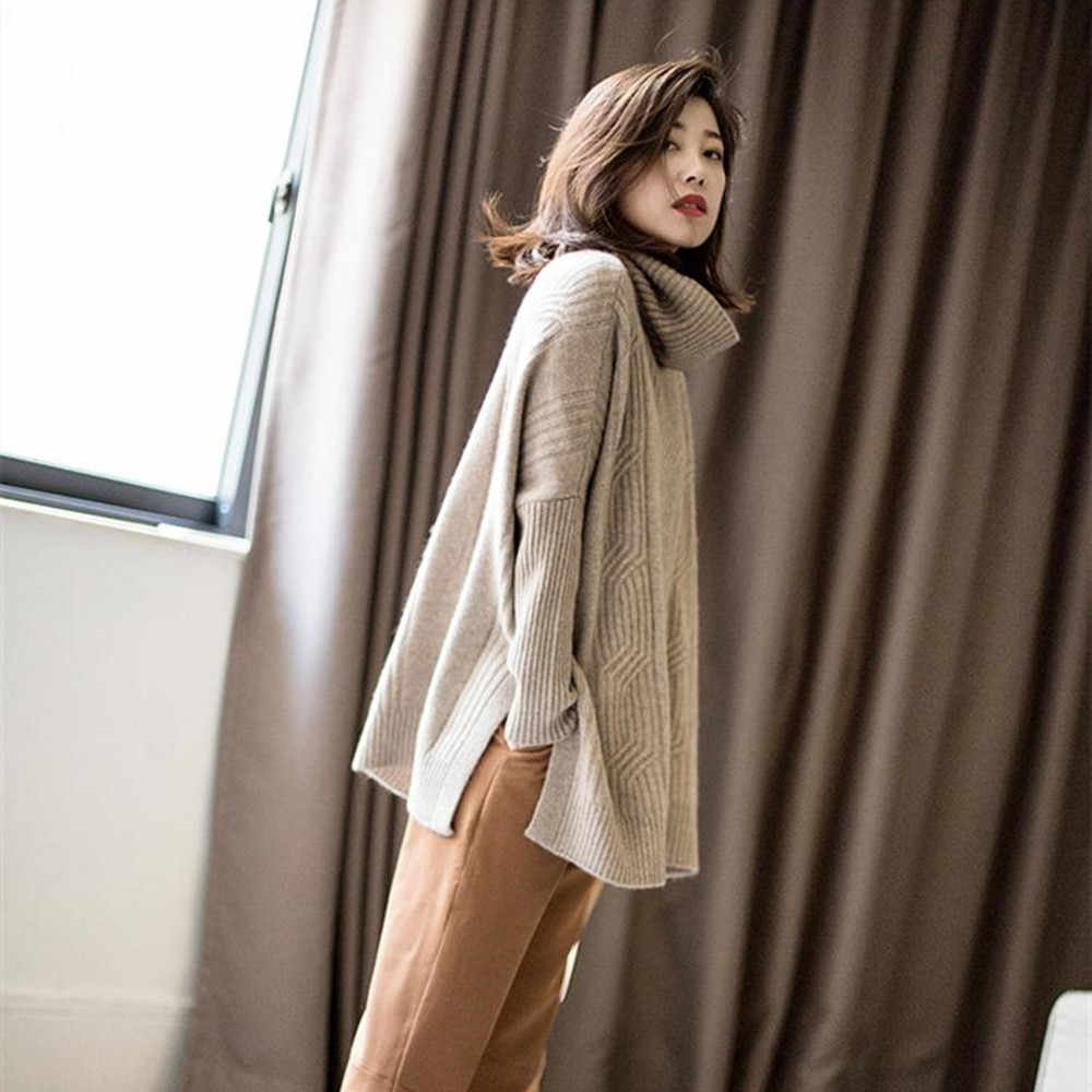 BARESKIY new high collar cashmere sweater female solid color long loose jacket spring and autumn stretch knit sweater female