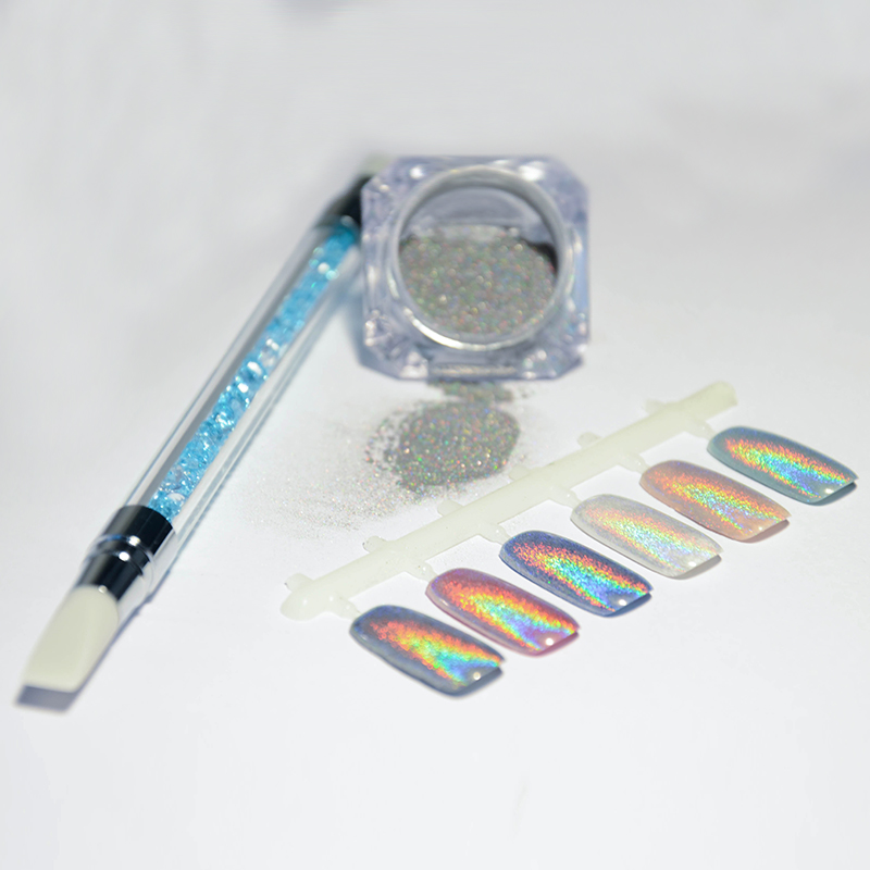1g Box Holographic Rainbow Laser Glitter Powders With Silicone Brush Nail Manicure Decoration