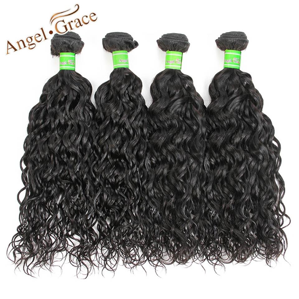 Angel Grace Hair Peruvian Virgin Hair Water Wave Bundles 4 Pcs Lot 100g/pc Peruvian Natu ...