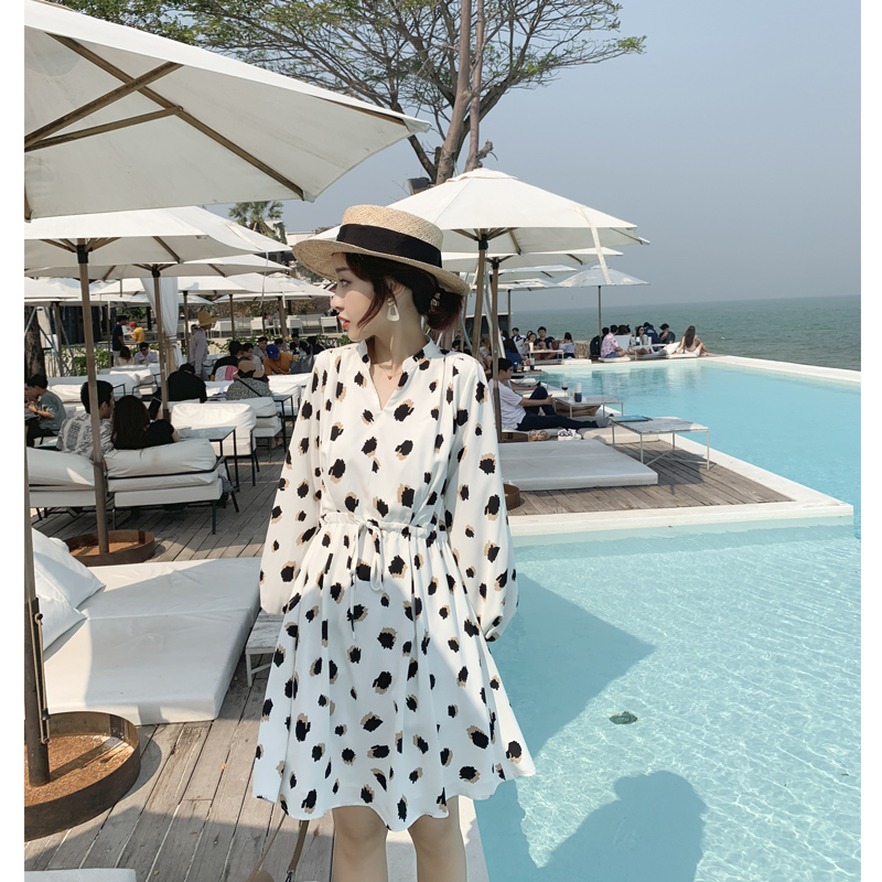Mishow 2019 Summer Women Dress Korean Casual Ladies Long Dress Vintage Long-Sleeved Beach Female Dress MX19A1460
