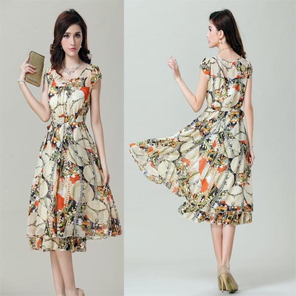 Printed Chiffon Knee Length Dresses With Sleeves Fashion