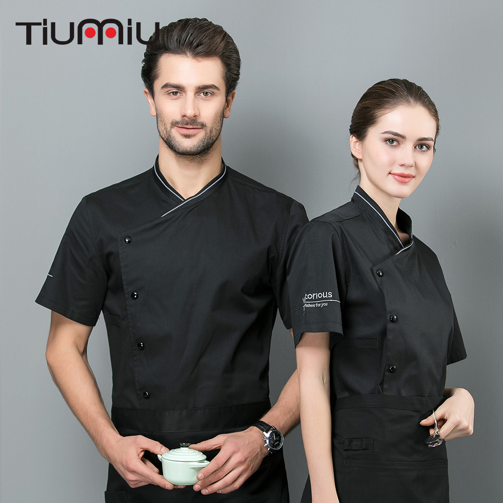 2019 Chef Shirts Breathable Cool Short Sleeves Coffee Top Bakery Hotel Cateringh Food Service Restaurant Kitchen Work Clothes