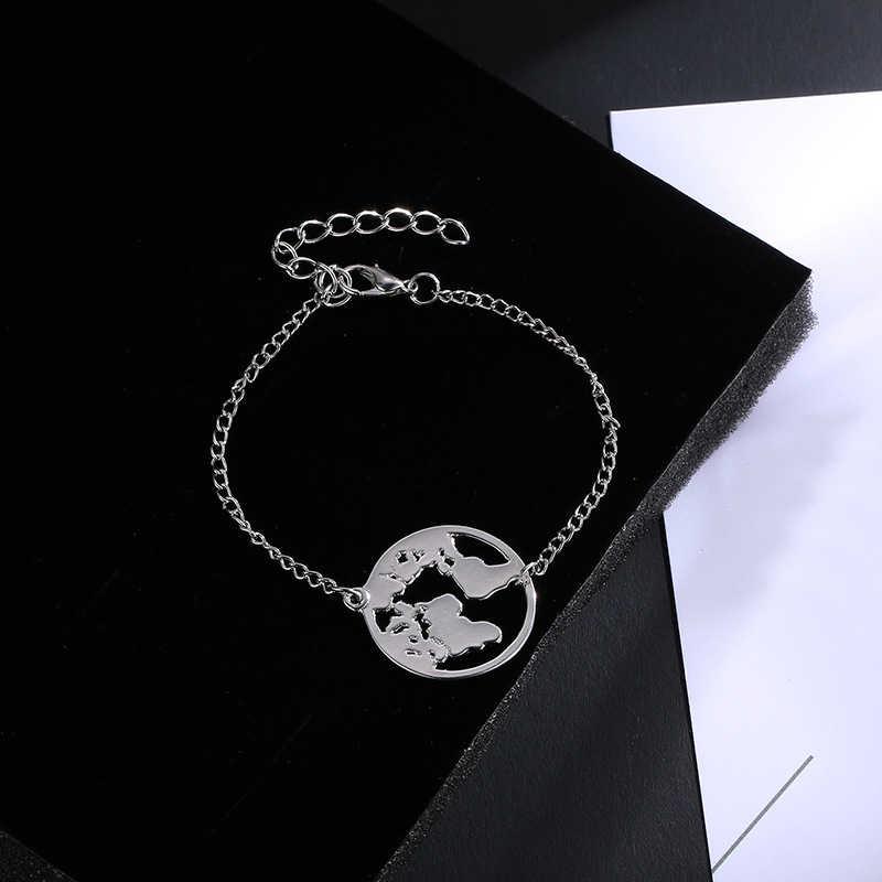 สร้อยข้อมือ Earth สีทอง 1 PC Travel อัญมณี Valentines ของขวัญ Wanderlust ปรับวงกลมเงินสีดำ World แผนที่ Chain Link