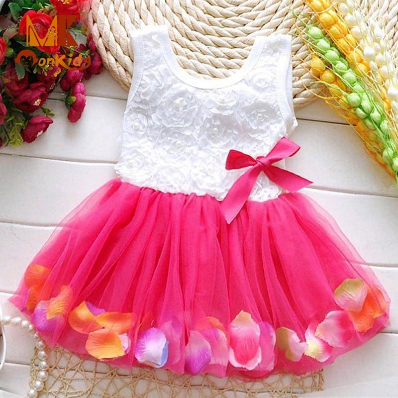 Monkids Baby Girls Clothing Baby Party Wedding Dress Infant Dresses Vestido Infantil Kids Baby Dress 2017 Summer Clothes