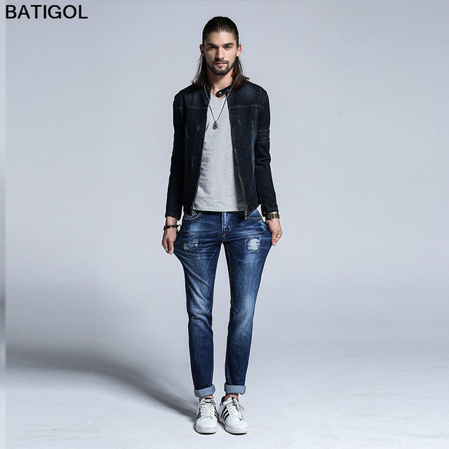 BATIGOL 2017 Winter Men Jeans Slim Fit hole Jeans Fashion Men Casual Style  High Quality Cotton Sky Blue Male Skinny Jeans