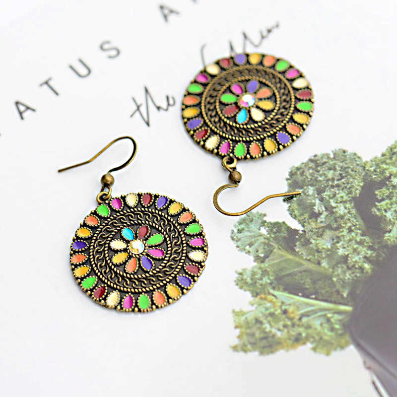 2019 Vintage Women's Multicolor Flower Tibetan Indian Jewelry Ethnic Hippie Summer Bohemia Boho Dangle Earrings Oorbellen