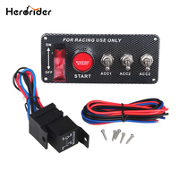 Herorider Car Auto Toggle Switches 12v Ignition Switch Panel Engine Start Push Button Carbon Fiber Car Led Toggle Switch Panel