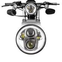 FADUIES 5.75 polegada Da Motocicleta LEVOU Farol com Angel Eye Halo para Harley Sportster Ferro 883 1200 Dyna Rua Bob FXDB cromo|  -