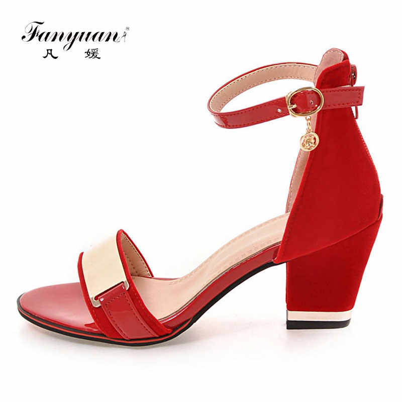 Fanyuan Bling Peep Toe Ladies Sandals Ankle Strap Female's High Heels Chunky Heel Sandalias Mujer Party Shoe Plus Size 32-43