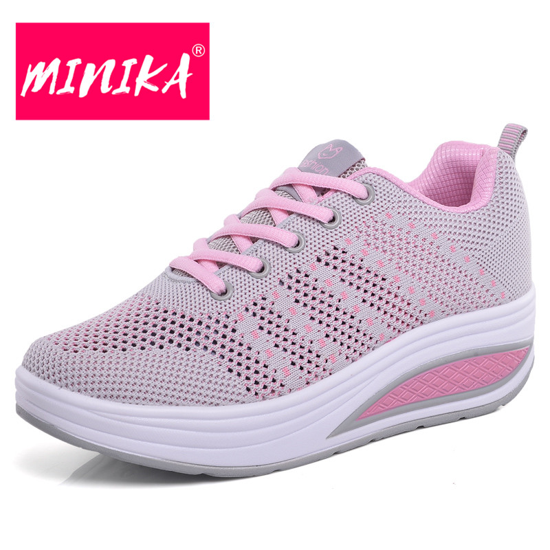 MINIKA Air Weaving Women Mesh Shoes Breathable Lace-up Wedges Light Sneakers Summer New Fashion Casual Platform Shoes Women pinsen fashion women shoes summer breathable lace up casual shoes big size 35 42 light comfort light weight air mesh women flats