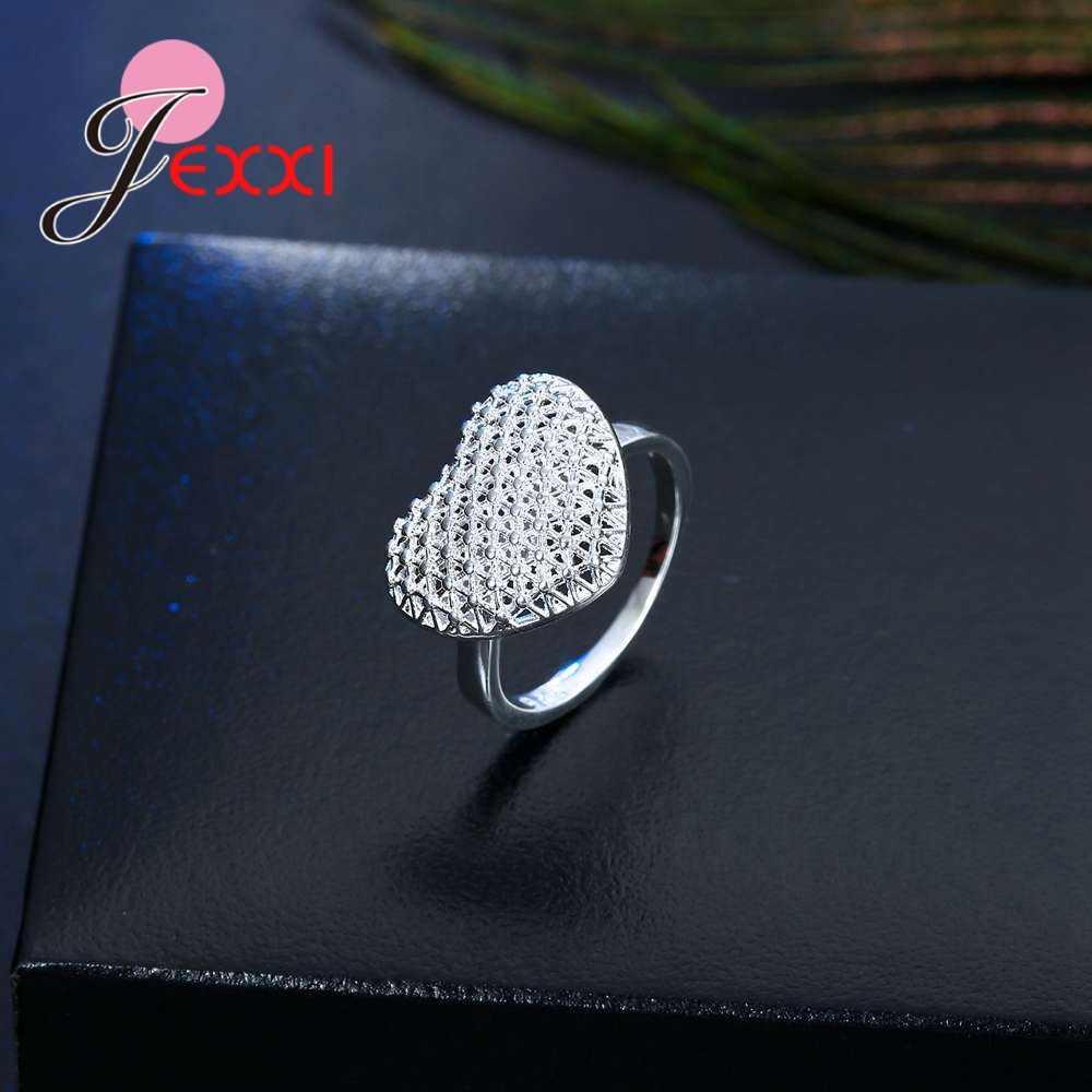 Openwork คุณภาพสูง 925 เงินสเตอร์ลิง Hollow Design ยุ้ยสไตล์หัวใจรักรูปร่างแหวนนิ้วเครื่องประดับเจ้าสาวอุปกรณ์เสริม