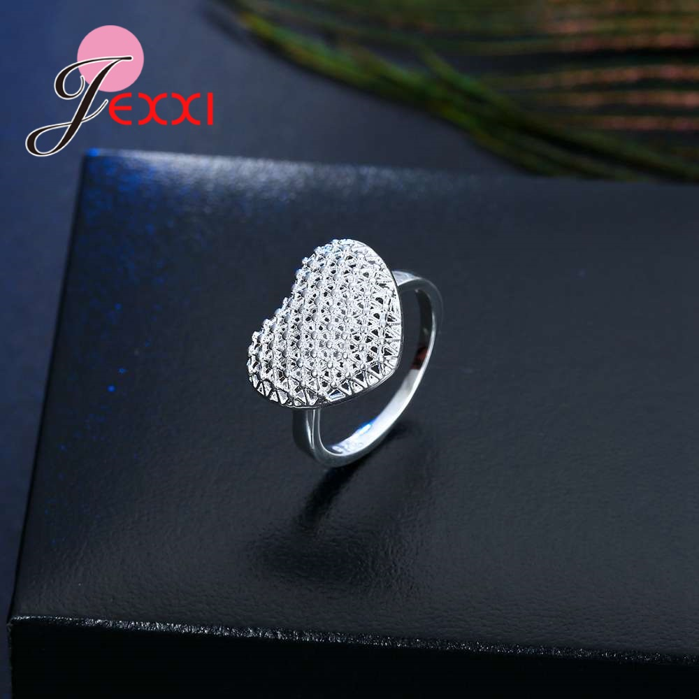 Openwork High Quality 925 Sterling Silver Hollow Design Exaggerated Style Love Heart Shape Finger Ring Bride Jewelry Accessories 2