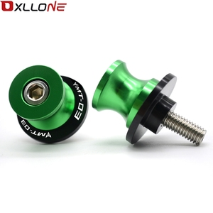 Image 2 - CNC Aluminum Motorcycle Accessories Swingarm Spools Slider 6mm Swing arm Stand Screws With LOGO For YAMAHA MT03 MT 03 MT 03
