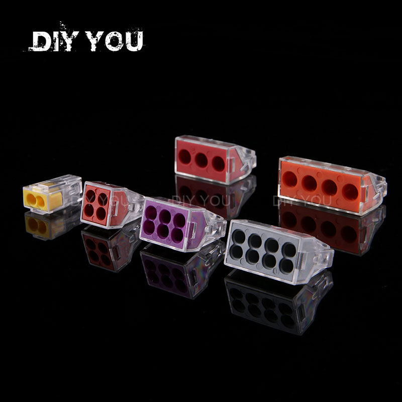 5/10 PCS DIY YOU PCT-102/103D/104/104D/106/108 Universal Compact Wire Wiring Connector Conductor Terminal Block With Lever