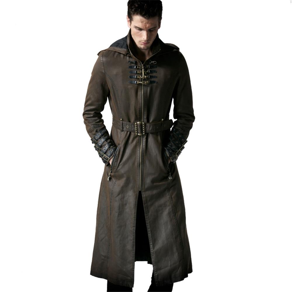 Стимпанк Для мужчин Кофе Цвет твил длинное пальто кожа петли Тренч с капюшоном пальто Длинная ветровка с молниями мягкие пальто