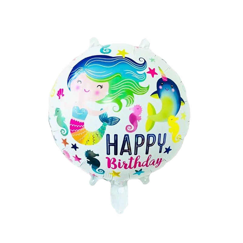 50 pcs Cartoon Mermaid Aluminum Balloons 18inch Inflatable Helium Globos for Baby Shower Birthday Party Decorations Kids Gift