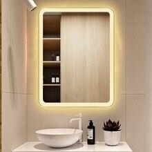 Светодиодный сенсорный экран зеркало для ванной HD противотуманные настенные зеркала Смарт туалетный столик зеркало поперечное или вертикальное с Bluetooth время