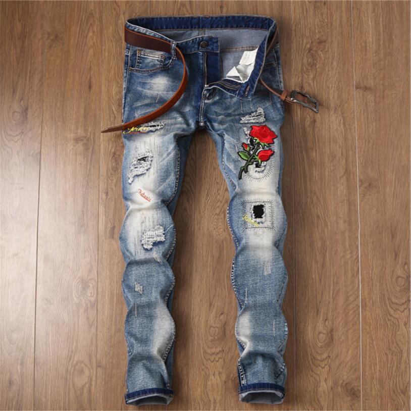 Mens Embroidery Slim Jeans High Street Style Men Elastic Denim Jeans Men Spring Autumn Cowboy Trousers Long Jeans