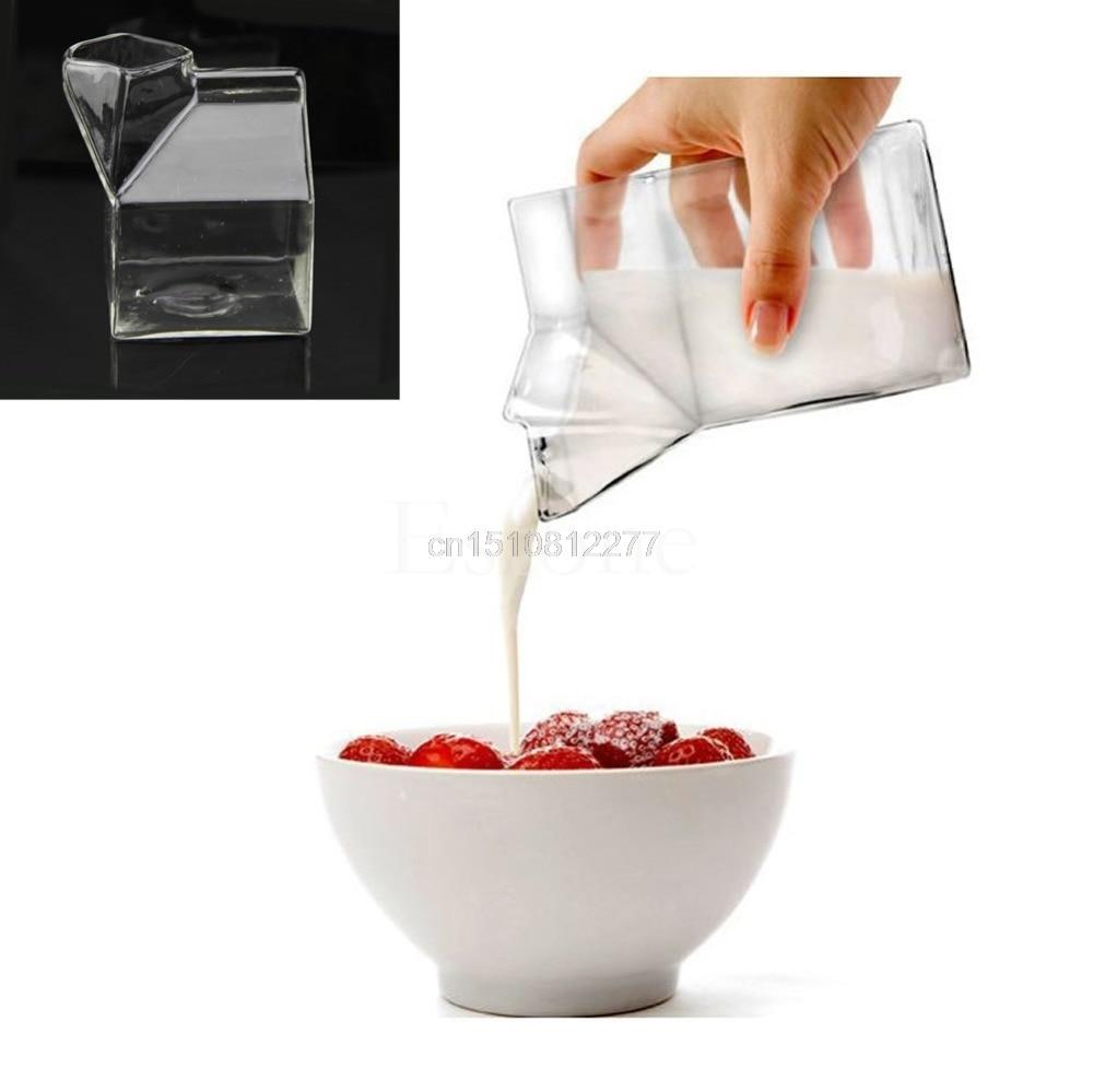 Уникальный Дизайн полпинты сливки молоко коробки Стекло чашки Кофе пить воду бар M10 дропшиппинг ...