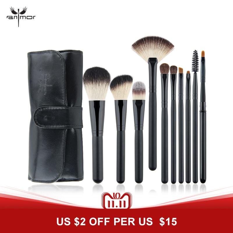 Travel Brush Set 10 PCS Makeup Brush Set Black Make Up Brushes Professional Makeup Brushes With Black Bag цены