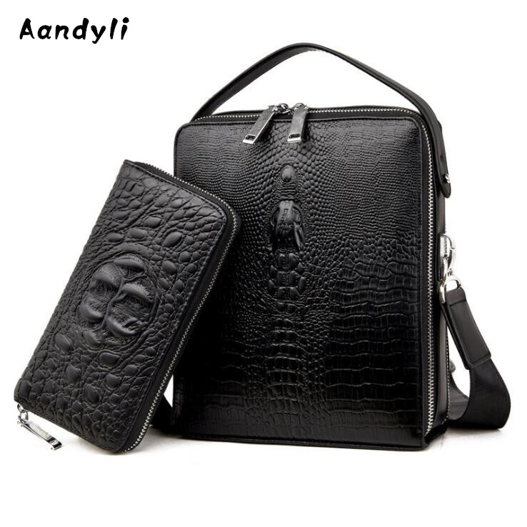 Leather Crossbody bag Crocodile grain Men s bags Business Shoulder bag  Designer messenger bags 56e41541040da