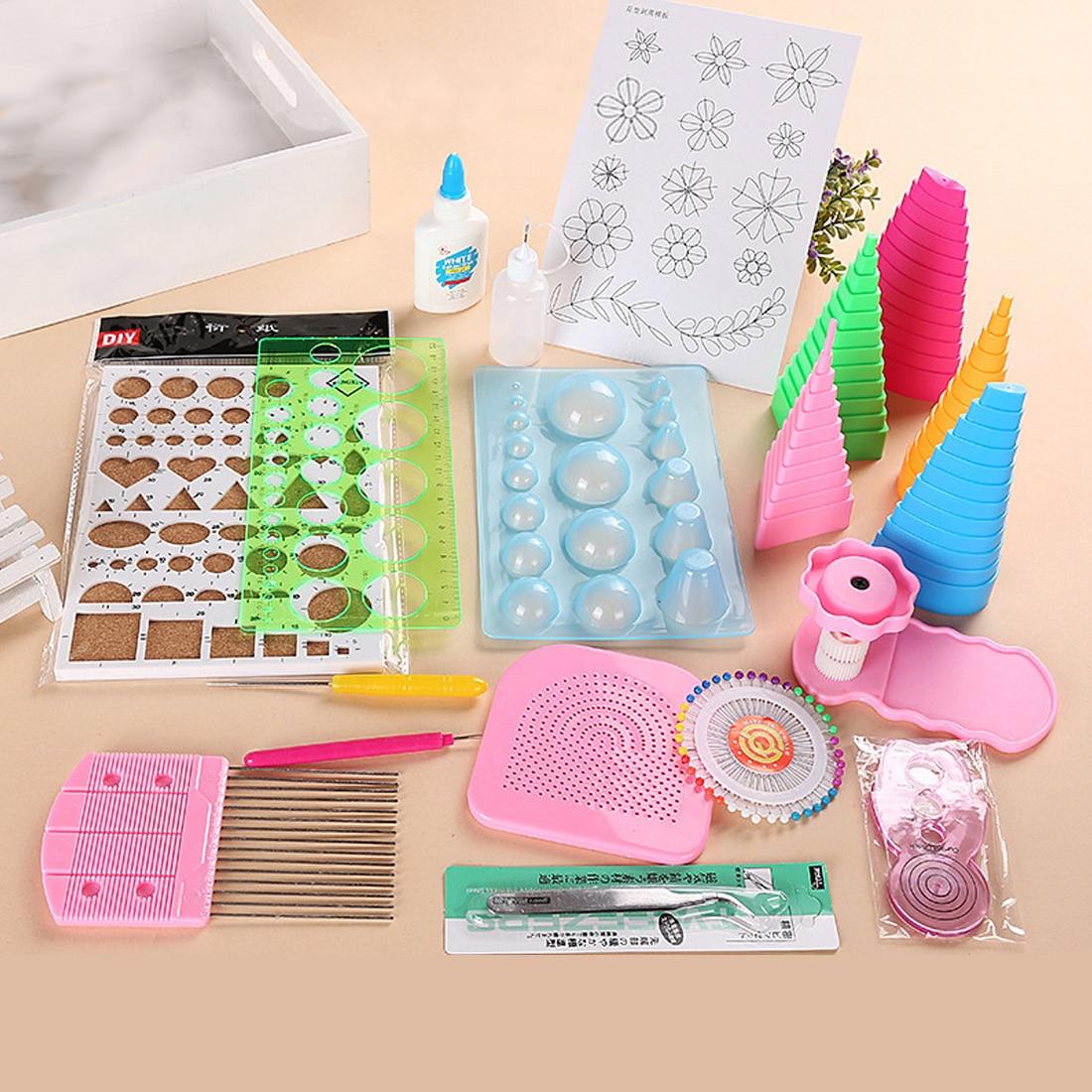 1Set Handmade Tweezer Crimping Paper Craft Quilling Paper Art Set Starter Quilling Tools Kit Climper Tool Tower DIY Scrapbooking