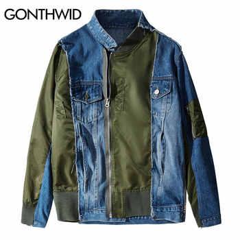 GONTHWID Patchwork Zip Up Denim Jackets Hip Hop Hipster Punk Rock Denim Jeans Jacket Outwear Motorcycle Jacket Coat Streetwear - DISCOUNT ITEM  46 OFF Men\'s Clothing