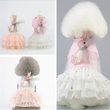 Pet  Dog Cotton Spring summer Clothes Dress xs-xl Sizes fashion New Baby Rabbit Skirts