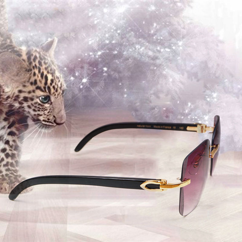 bf0ab207fe6 Details about Luxury Rimless Black White Buffalo Horn Sunglasses Men Carter  Buffalo Natural.