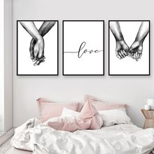 Fashion Nordic Poster Black And White Holding Hands Picture Canvas Prints Lover Quote Painting Wall Art For Living Room Decor(China)