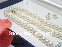 """Aa los 6 – 7 MM blanco perlas cultivadas de Akoya collar de perlas 18 """" + juego de pendientes"""