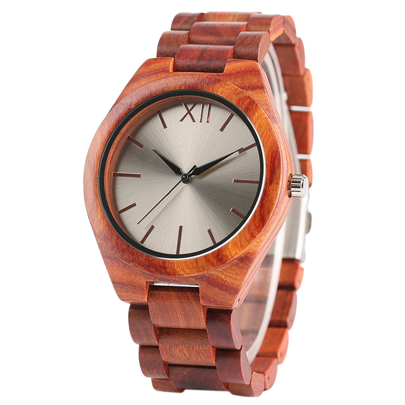 Fashion Red Wood Watches For Men Quartz Full Wooden Bracelet Watch Luxury Silver Dial Wristwatches With Gift Male fashion cool punk rock design men quartz wooden watch modern black genuine leather watchband unique wood watches gift for male