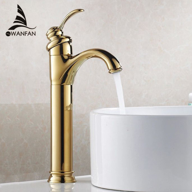 Basin Faucets Brass Golden Contemporary Bathroom Sink Faucet Single Handle  Deck Mounted Bath Toilet Mixer Water
