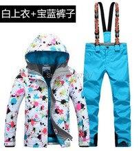 2017 New hot womens blue ski suit female skiing snowboarding suit flower printing ski jacket and royal blue suspender ski pants