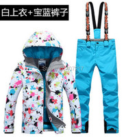 New hot womens blue ski suit female skiing snowboarding suit flower printing ski jacket and royal blue suspender ski pants
