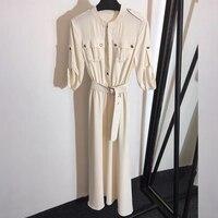 2019 дизайнерское Брендовое платье с пуговицами, длинное белое платье макси, летнее платье трапециевидной формы с коротким рукавом и круглым
