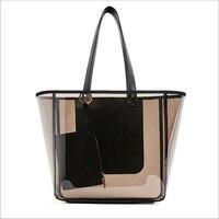 SHUSHIRUO Fashion High Quality Women PVC Transparent Handbags Summer Female Beach Travel Tote Shoulder Bags Makeup