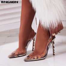 TINGHON Women PVC Leopard Grain Zebra Thin High Heel Sandals Novelty Crystal Summer Clear Buckle Strap Transparent Pumps 35-40