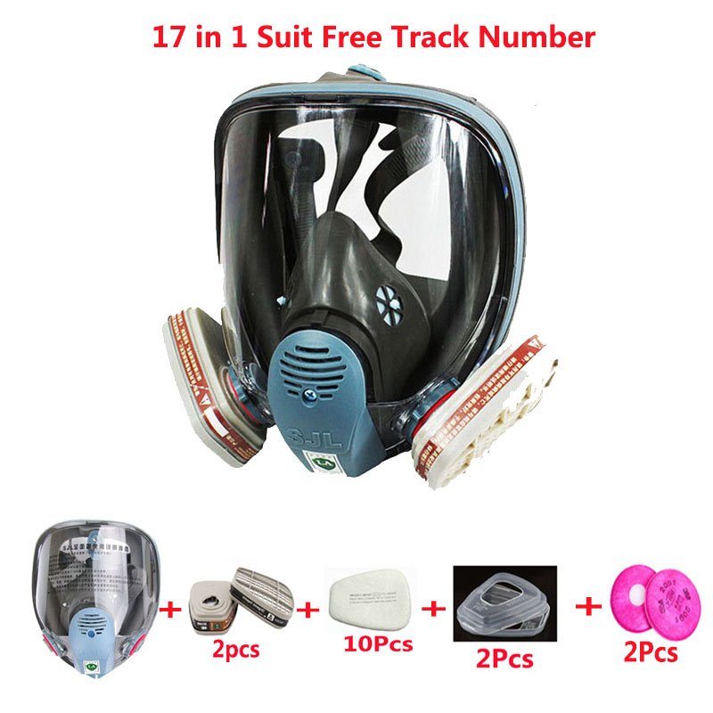17 in 1 Suit Industry Painting Spraying Gas Mask Same For 3M 6800 Full Face Gas Mask Facepiece Respirator sjl painting spraying respirator gas mask same for 3 m 6800 gas mask full face facepiece laboratories dust mask respirator