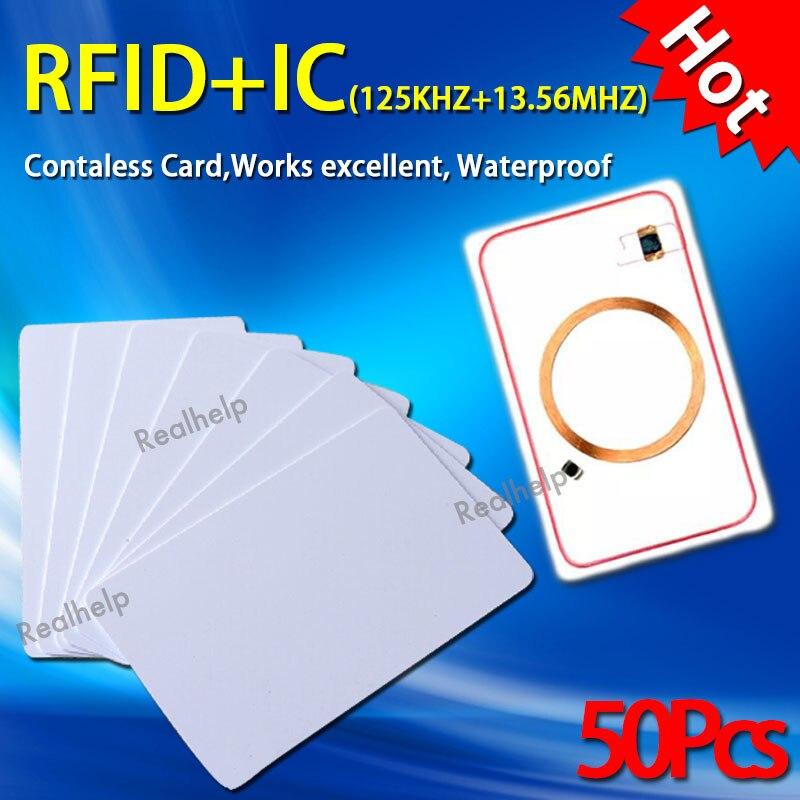 Zugangskontrollkarten Zugangskontrolle Nett 13,56 Mhz 125 Khz Doppel Frequenz Rfid Control Eintrag Access Ic Und Id Dual Chips In Eine Karte 2in1 S50 Smart Mf1 Und Em4100