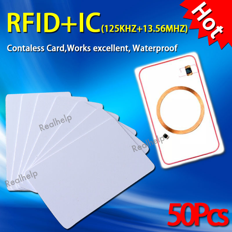 13.56MHz 125Khz Double Frequency RFID Control Entry Access IC and ID Dual Chips in One Card 2in1 S50 Smart MF1 and  EM4100 цены онлайн