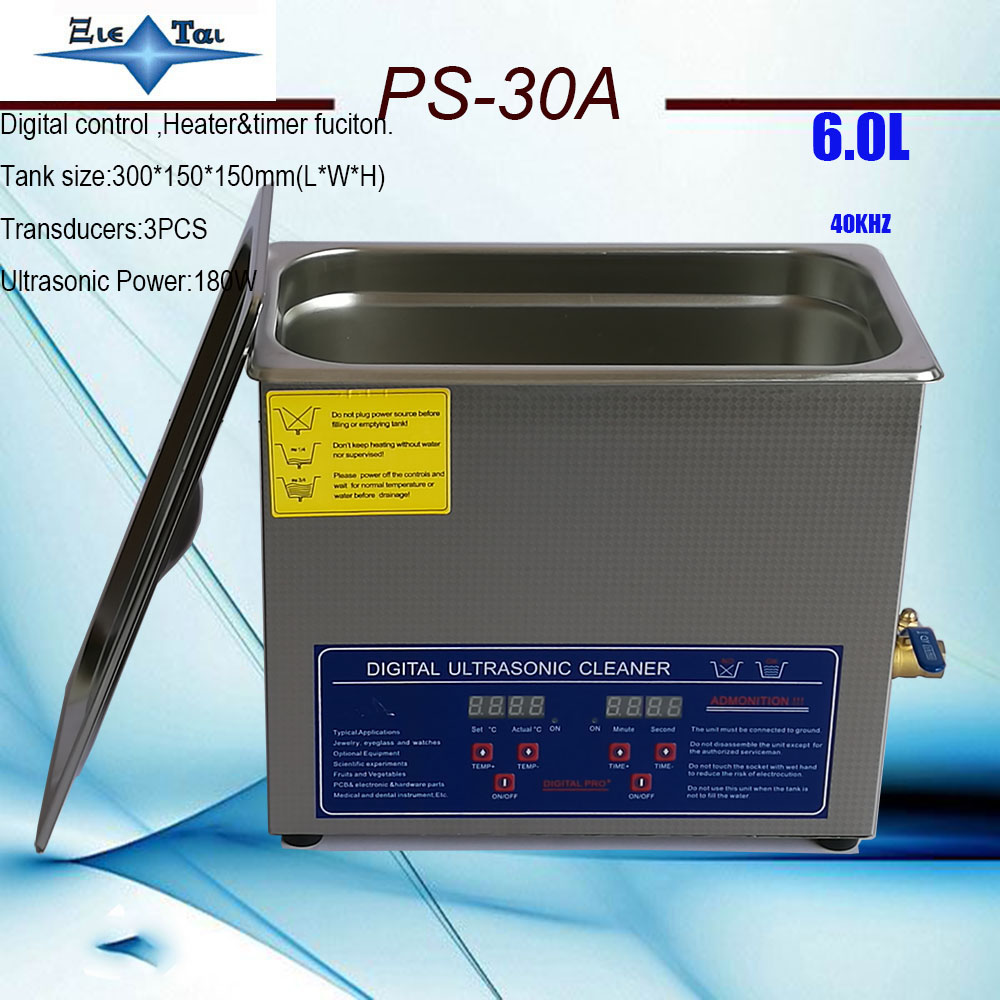 Local Free Shipping JIETAI AC110V 220V digital ultrasonic cleaner 6Ldental PS 30A with timer heater 40KHz